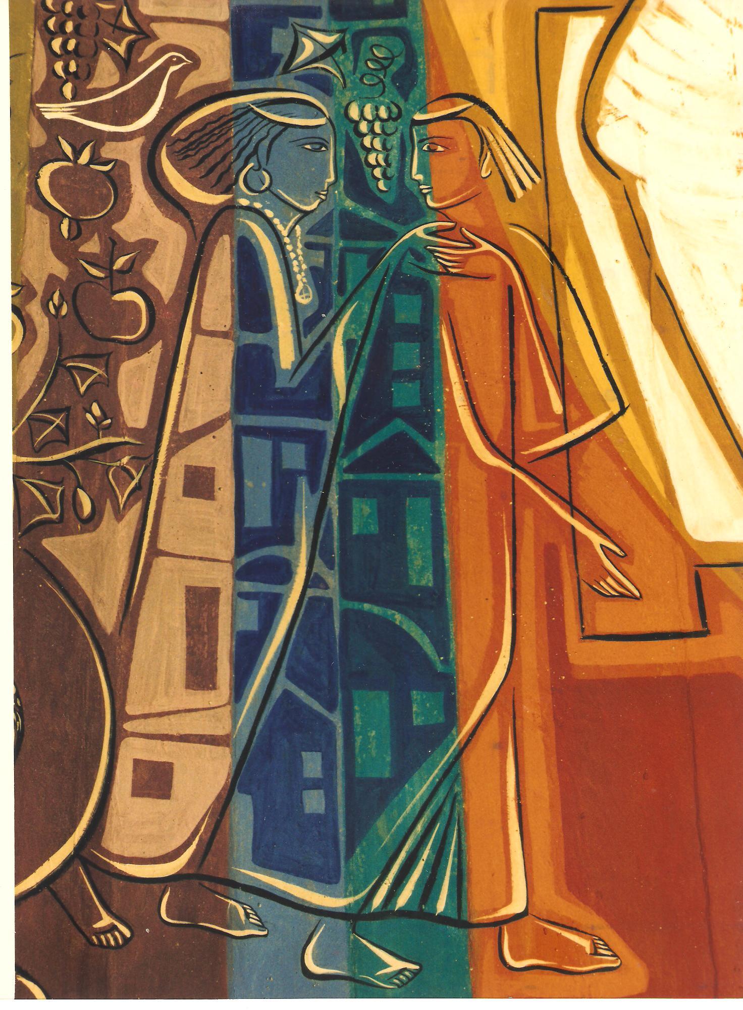 O Esposo e a Esposa do Cântico dos Cânticos - Painel da Igreja Abacial do Mosteiro da Virgem